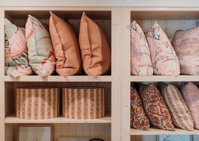 cushions on shelves